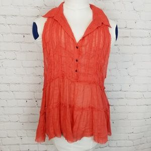 Free People|Coral Layered Raw Hem TankTop